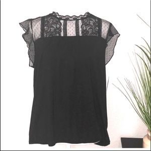 New York & Co black lace with bubble hem blouse